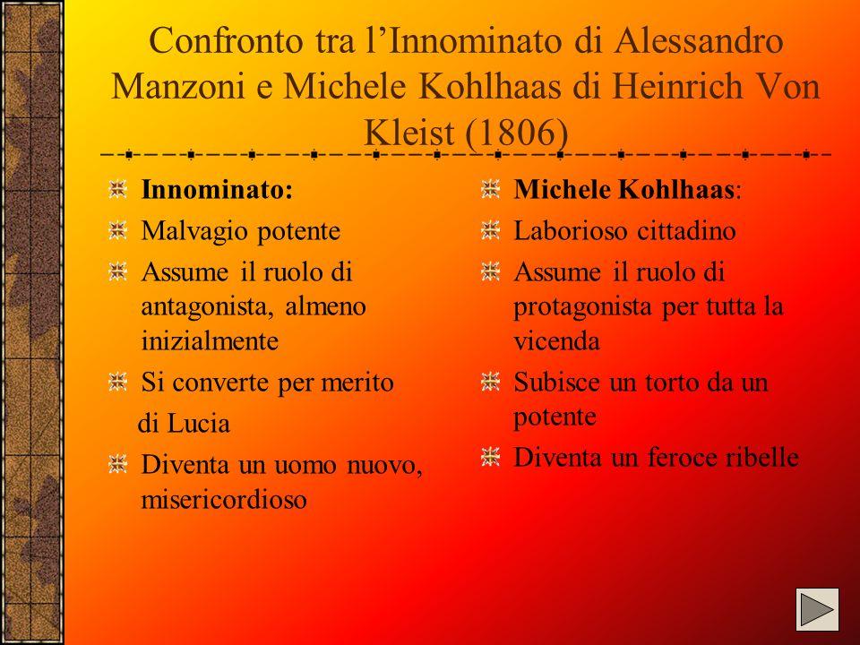 Confronto tra l'Innominato di Alessandro Manzoni e Michele Kohlhaas di Heinrich Von Kleist (1806) Innominato: Malvagio potente Assume il ruolo di anta