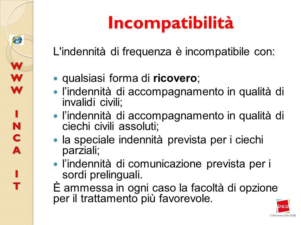 Incompatibilità L'indennità di frequenza è incompatibile con: qualsiasi forma di ricovero; l'indennità di accompagnamento in qualità di invalidi civil