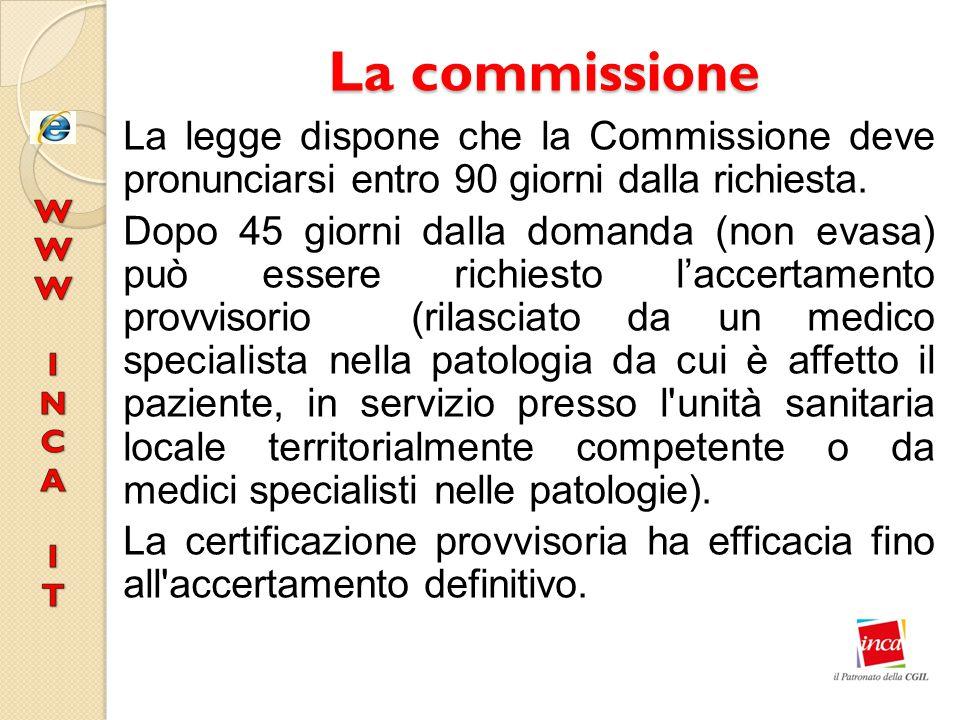 La commissione La legge dispone che la Commissione deve pronunciarsi entro 90 giorni dalla richiesta. Dopo 45 giorni dalla domanda (non evasa) può ess
