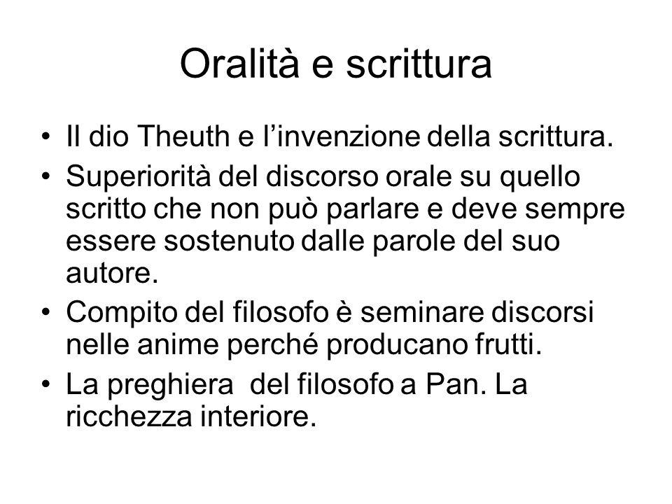 Oralità e scrittura Il dio Theuth e l'invenzione della scrittura. Superiorità del discorso orale su quello scritto che non può parlare e deve sempre e