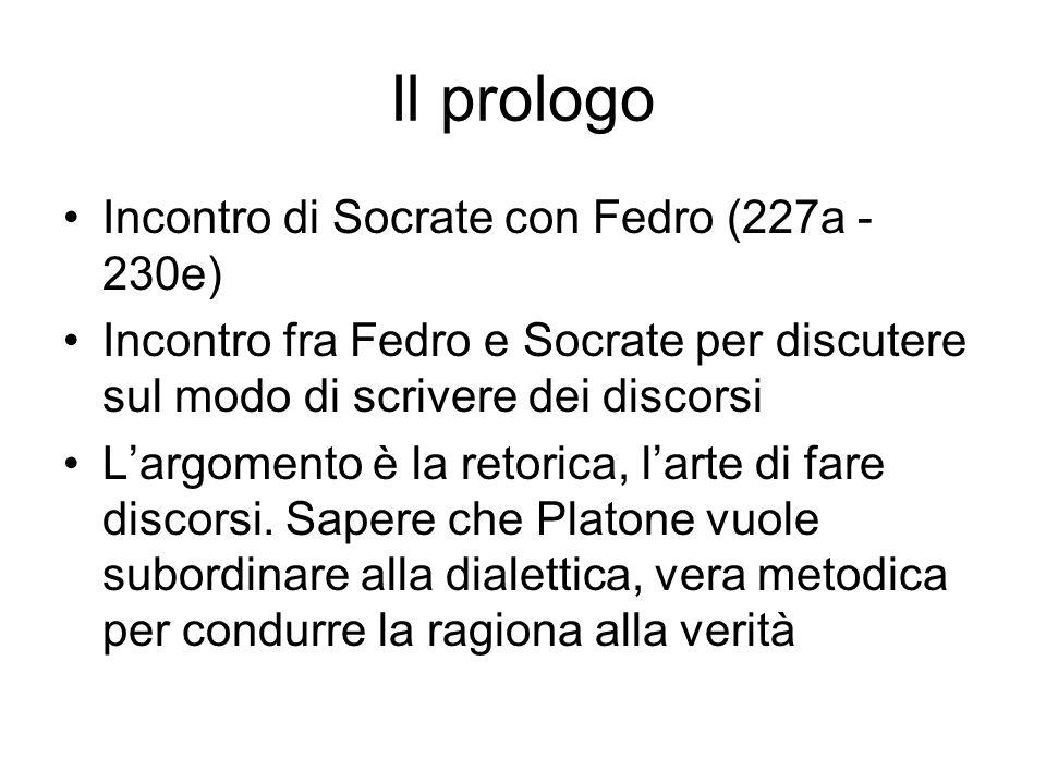 Il prologo Incontro di Socrate con Fedro (227a - 230e) Incontro fra Fedro e Socrate per discutere sul modo di scrivere dei discorsi L'argomento è la r
