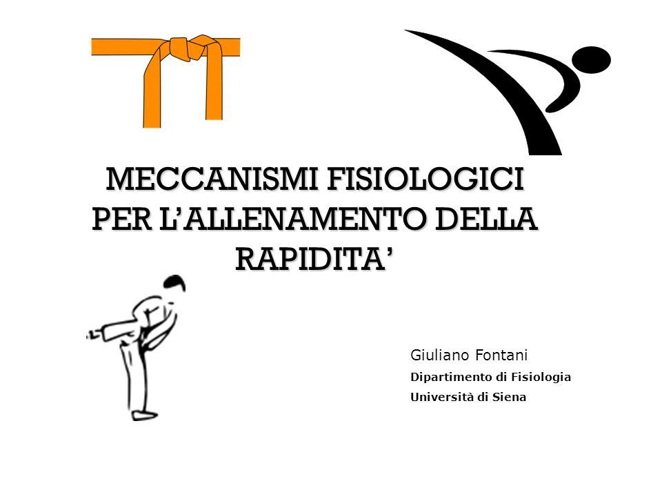 MECCANISMI FISIOLOGICI PER L'ALLENAMENTO DELLA RAPIDITA' Giuliano Fontani Dipartimento di Fisiologia Università di Siena