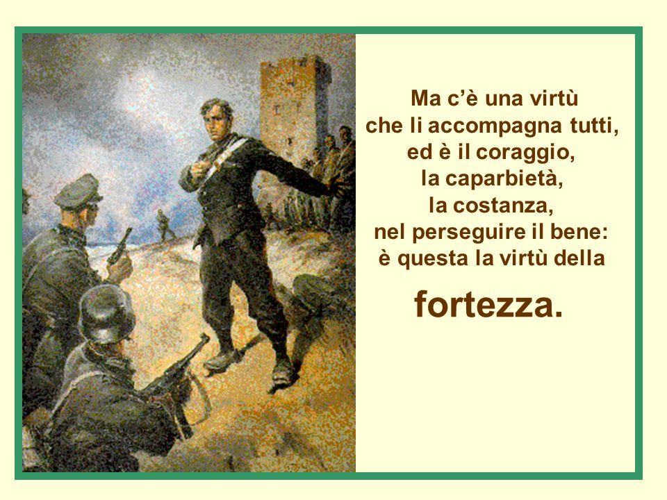 Ma c'è una virtù che li accompagna tutti, ed è il coraggio, la caparbietà, la costanza, nel perseguire il bene: è questa la virtù della fortezza.