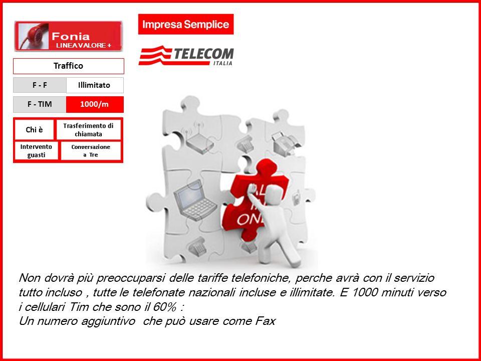 GRUPPO TELECOM ITALIA Traffico F - F Illimitato F - TIM1000/m Non dovrà più preoccuparsi delle tariffe telefoniche, perche avrà con il servizio tutto