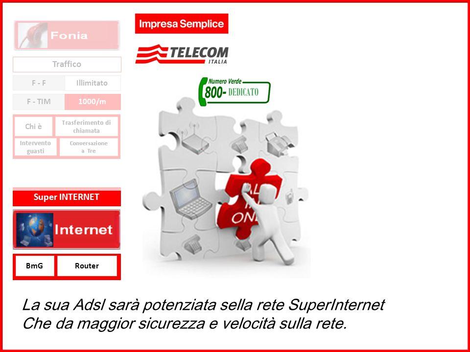GRUPPO TELECOM ITALIA Traffico F - F Illimitato F - TIM1000/m BmGRouter Super INTERNET La sua Adsl sarà potenziata sella rete SuperInternet Che da mag