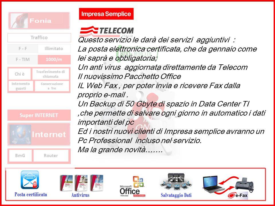 GRUPPO TELECOM ITALIA Traffico F - F Illimitato F - TIM1000/m BmGRouter Super INTERNET Questo servizio le darà dei servizi aggiuntivi : La posta elett