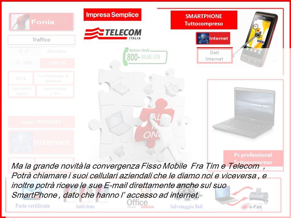 GRUPPO TELECOM ITALIA Traffico F - F Illimitato F - TIM1000/m BmGRouter Super INTERNET Pc professional Tuttocompreso SMARTPHONE Tuttocompreso Dati Internet Questo è il servizio di Impresa Semplice.