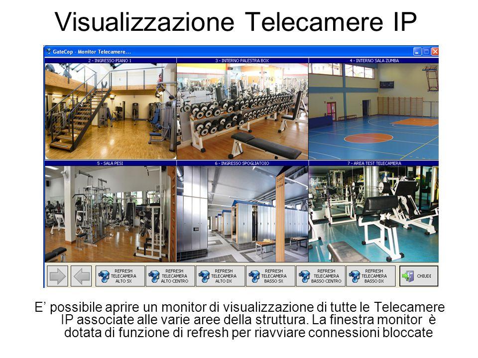 Visualizzazione Telecamere IP E' possibile aprire un monitor di visualizzazione di tutte le Telecamere IP associate alle varie aree della struttura.