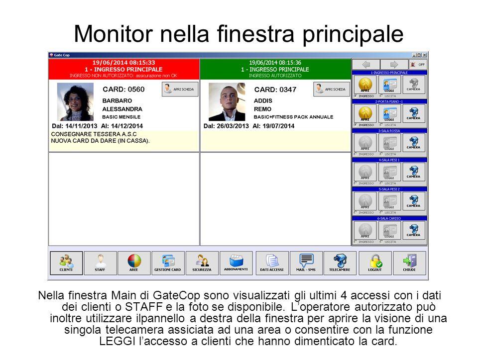 Monitor nella finestra principale Nella finestra Main di GateCop sono visualizzati gli ultimi 4 accessi con i dati dei clienti o STAFF e la foto se disponibile.