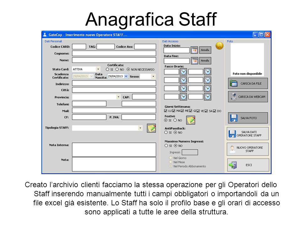 Anagrafica Staff Creato l'archivio clienti facciamo la stessa operazione per gli Operatori dello Staff inserendo manualmente tutti i campi obbligatori o importandoli da un file excel già esistente.