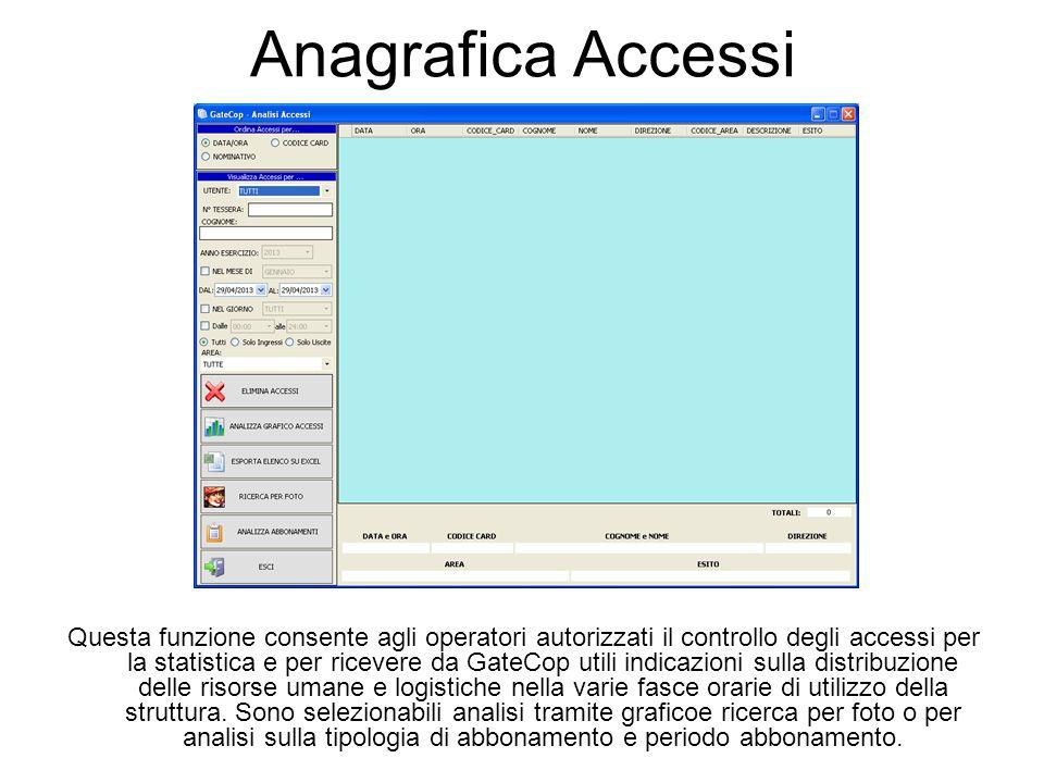 Anagrafica Accessi Questa funzione consente agli operatori autorizzati il controllo degli accessi per la statistica e per ricevere da GateCop utili indicazioni sulla distribuzione delle risorse umane e logistiche nella varie fasce orarie di utilizzo della struttura.