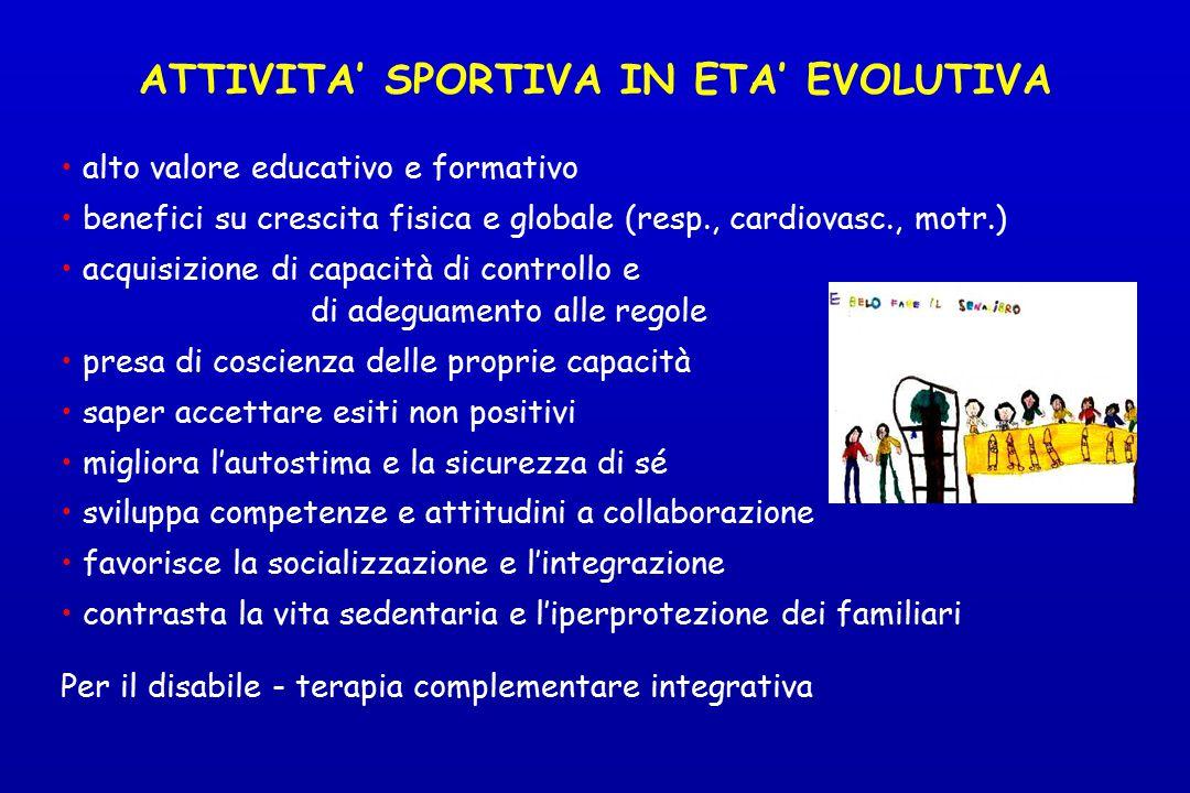 ATTIVITA' SPORTIVA IN ETA' EVOLUTIVA alto valore educativo e formativo benefici su crescita fisica e globale (resp., cardiovasc., motr.) acquisizione