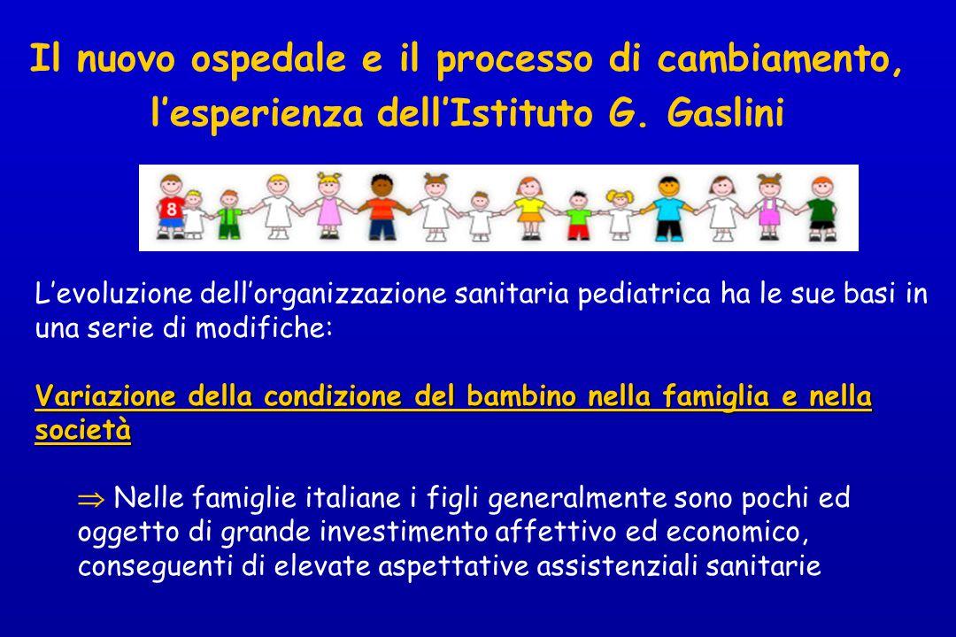Il nuovo ospedale e il processo di cambiamento, l'esperienza dell'Istituto G. Gaslini L'evoluzione dell'organizzazione sanitaria pediatrica ha le sue