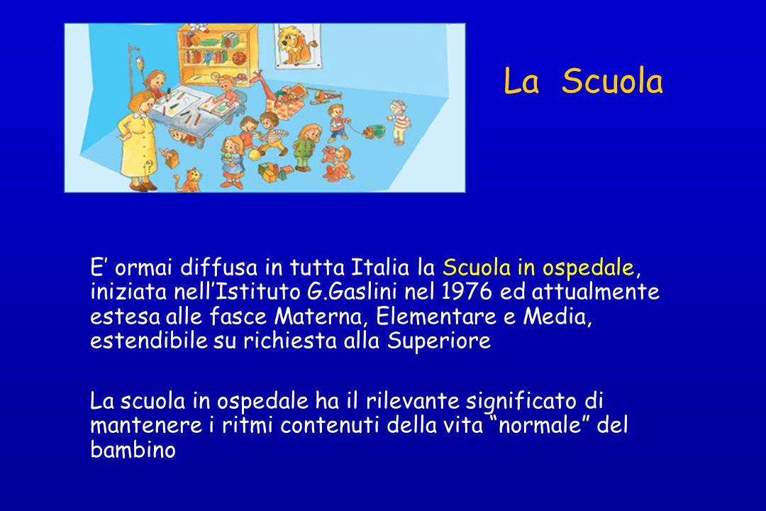 La Scuola E' ormai diffusa in tutta Italia la Scuola in ospedale, iniziata nell'Istituto G.Gaslini nel 1976 ed attualmente estesa alle fasce Materna,