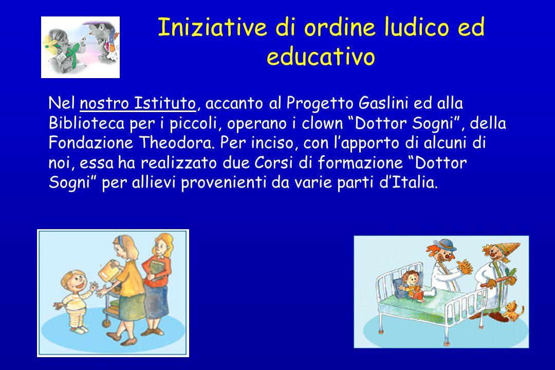 """Iniziative di ordine ludico ed educativo Nel nostro Istituto, accanto al Progetto Gaslini ed alla Biblioteca per i piccoli, operano i clown """"Dottor So"""