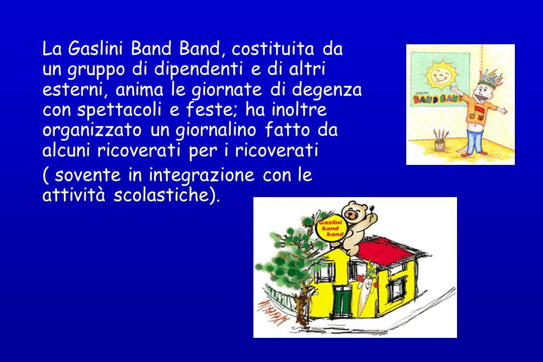 La Gaslini Band Band, costituita da un gruppo di dipendenti e di altri esterni, anima le giornate di degenza con spettacoli e feste; ha inoltre organi