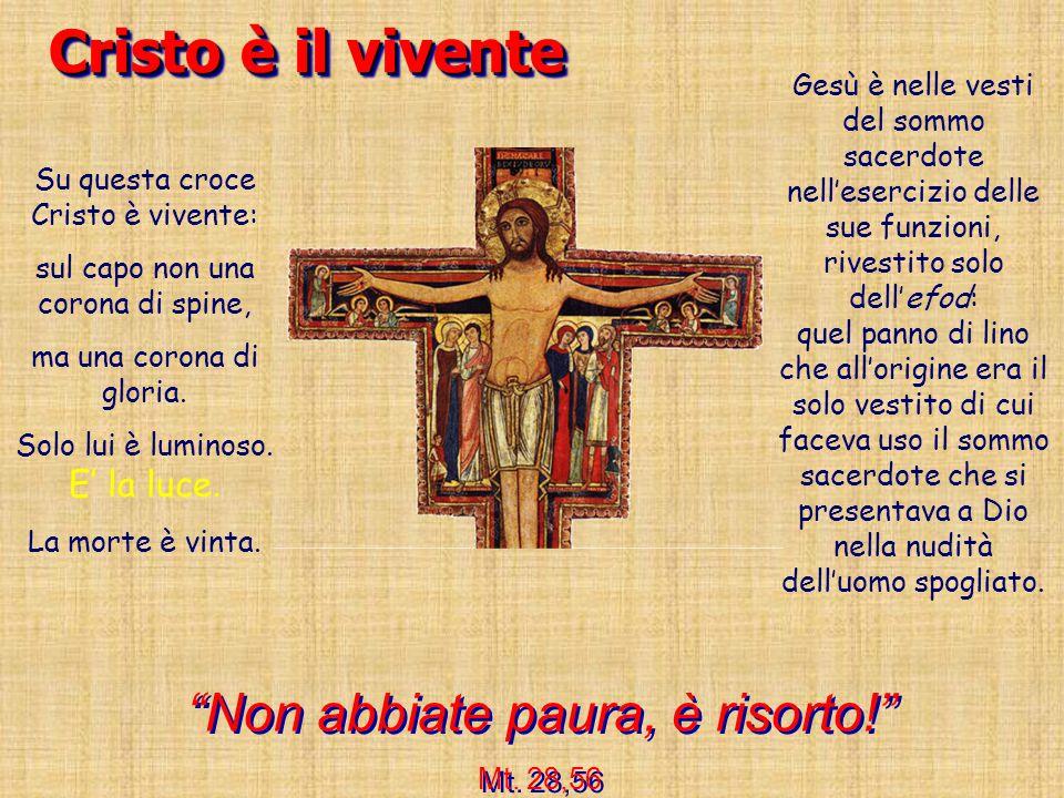 Cristo è il vivente Su questa croce Cristo è vivente: sul capo non una corona di spine, ma una corona di gloria. Solo lui è luminoso. E' la luce. La m