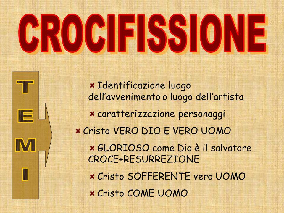 Identificazione luogo dell'avvenimento o luogo dell'artista caratterizzazione personaggi Cristo VERO DIO E VERO UOMO GLORIOSO come Dio è il salvatore CROCE+RESURREZIONE Cristo SOFFERENTE vero UOMO Cristo COME UOMO