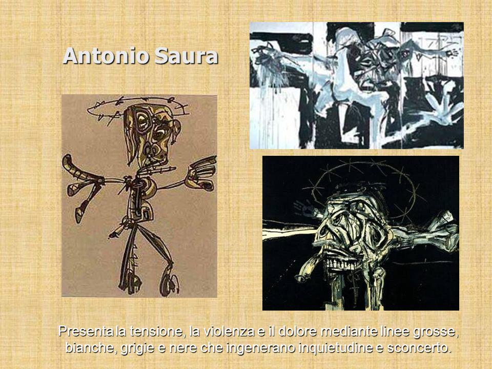 Antonio Saura Presenta la tensione, la violenza e il dolore mediante linee grosse, bianche, grigie e nere che ingenerano inquietudine e sconcerto.