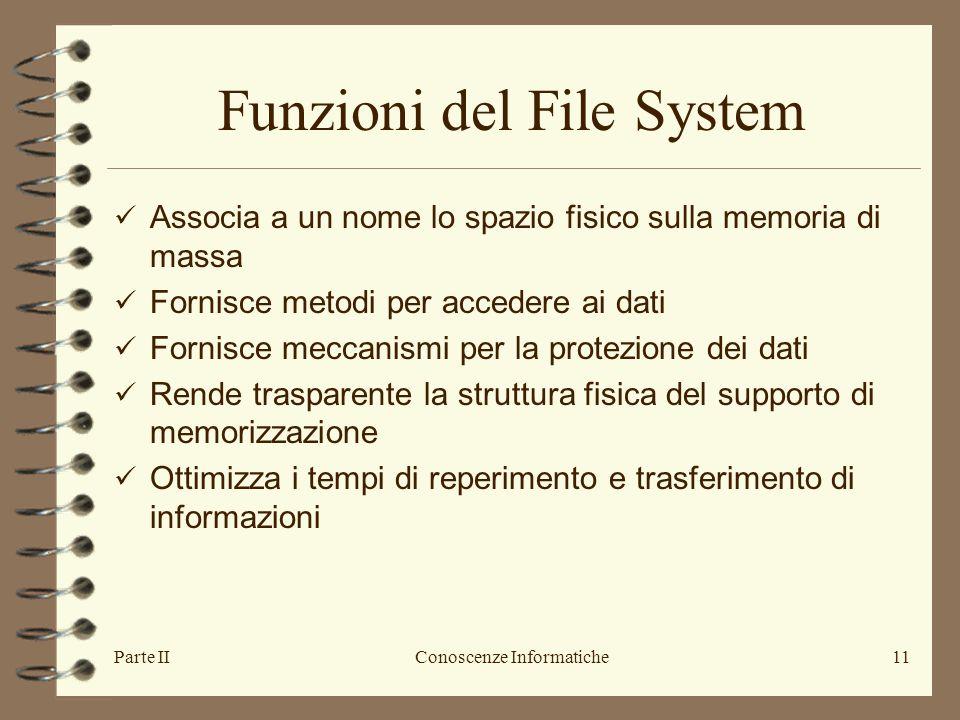 Parte IIConoscenze Informatiche11 Funzioni del File System Associa a un nome lo spazio fisico sulla memoria di massa Fornisce metodi per accedere ai d