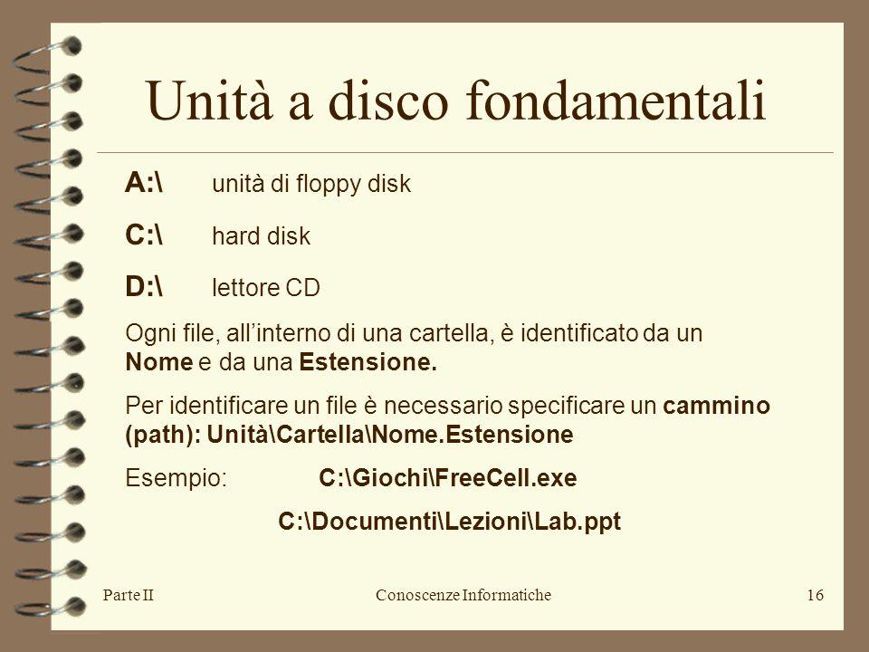 Parte IIConoscenze Informatiche16 A:\ unità di floppy disk C:\ hard disk D:\ lettore CD Ogni file, all'interno di una cartella, è identificato da un N