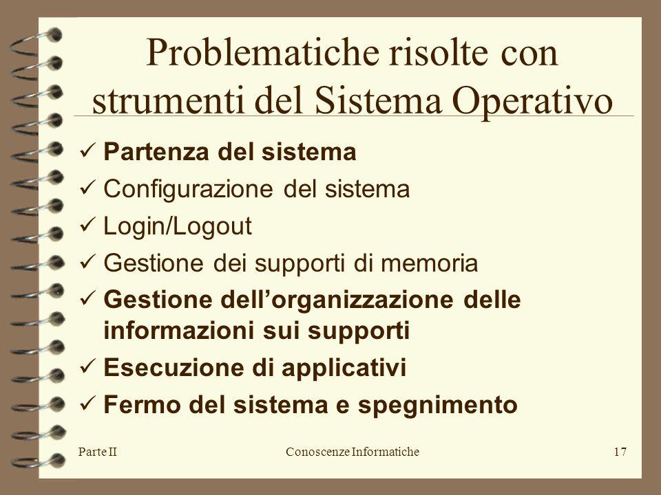Parte IIConoscenze Informatiche17 Problematiche risolte con strumenti del Sistema Operativo Partenza del sistema Configurazione del sistema Login/Logo