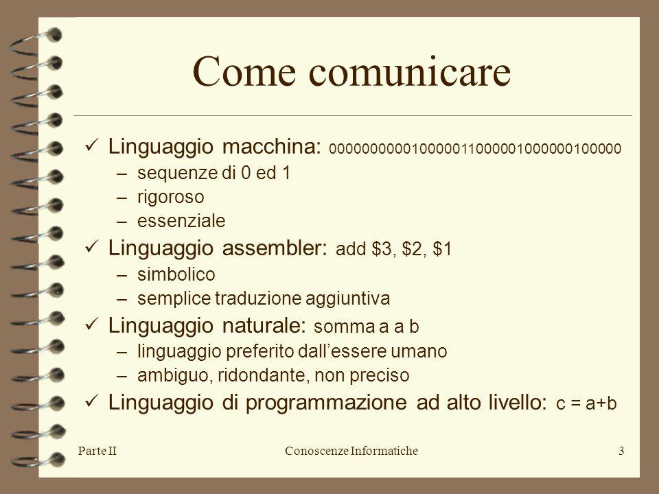 Parte IIConoscenze Informatiche3 Come comunicare Linguaggio macchina: 000000000010000011000001000000100000 –sequenze di 0 ed 1 –rigoroso –essenziale L