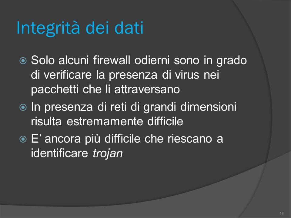 Integrità dei dati  Solo alcuni firewall odierni sono in grado di verificare la presenza di virus nei pacchetti che li attraversano  In presenza di
