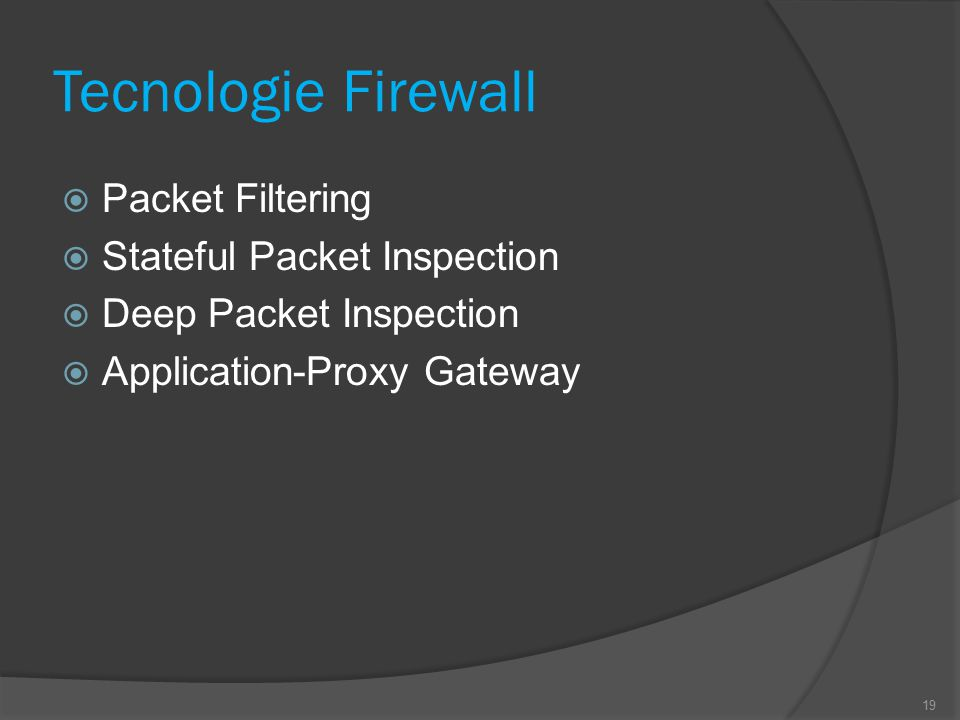 Tecnologie Firewall  Packet Filtering  Stateful Packet Inspection  Deep Packet Inspection  Application-Proxy Gateway 19