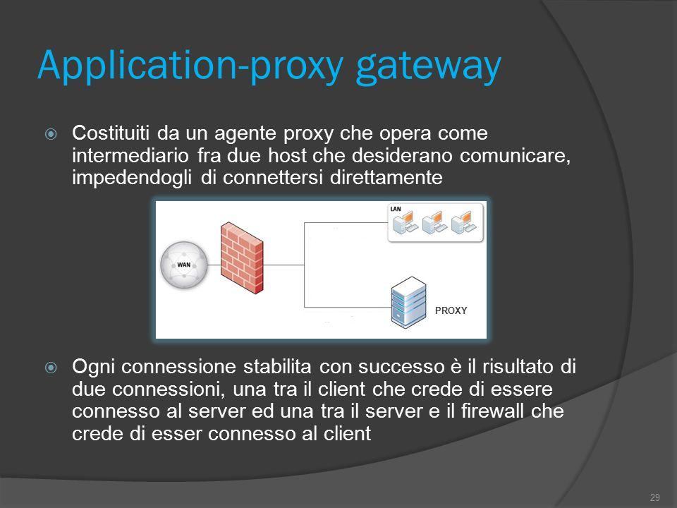 Application-proxy gateway  Costituiti da un agente proxy che opera come intermediario fra due host che desiderano comunicare, impedendogli di connett