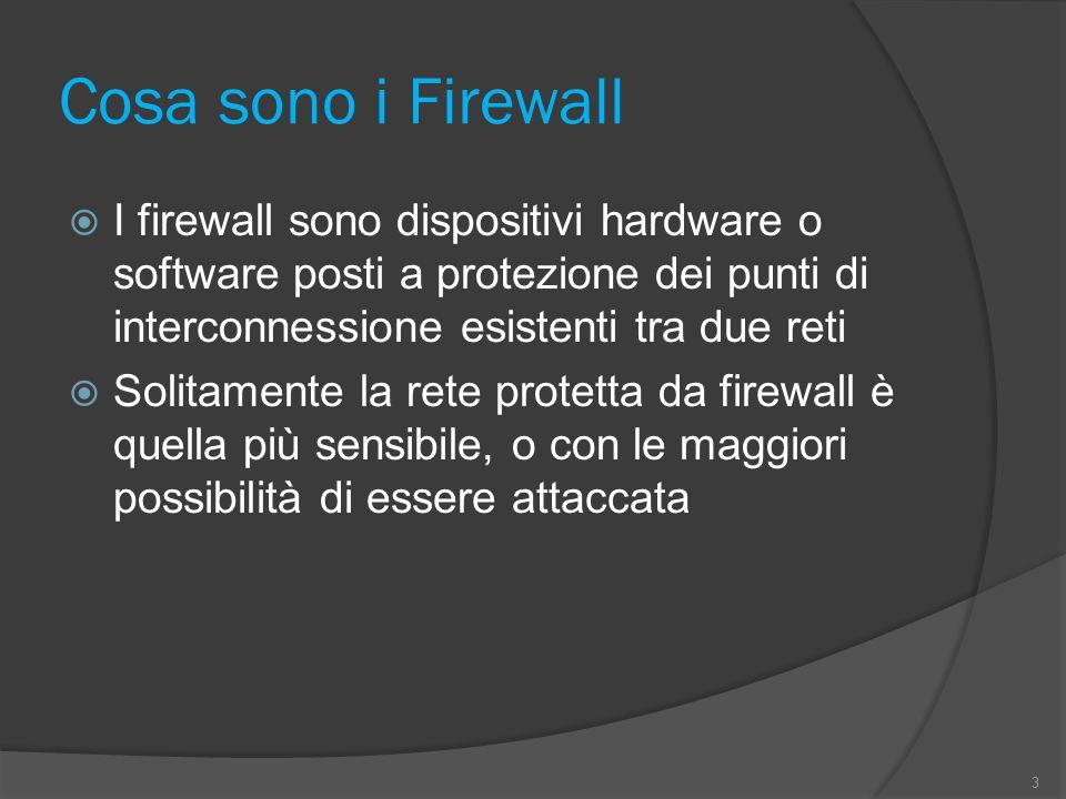 Cosa sono i Firewall  I firewall sono dispositivi hardware o software posti a protezione dei punti di interconnessione esistenti tra due reti  Solitamente la rete protetta da firewall è quella più sensibile, o con le maggiori possibilità di essere attaccata 3
