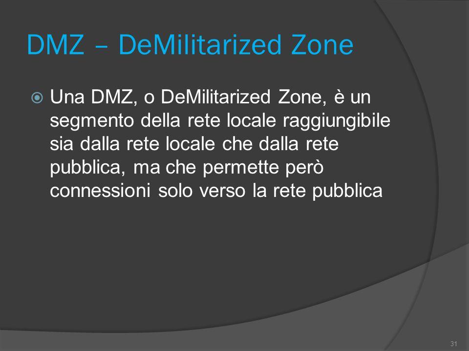 DMZ – DeMilitarized Zone 31  Una DMZ, o DeMilitarized Zone, è un segmento della rete locale raggiungibile sia dalla rete locale che dalla rete pubblica, ma che permette però connessioni solo verso la rete pubblica
