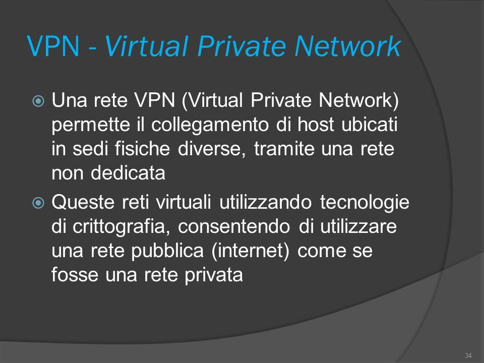 VPN - Virtual Private Network  Una rete VPN (Virtual Private Network) permette il collegamento di host ubicati in sedi fisiche diverse, tramite una rete non dedicata  Queste reti virtuali utilizzando tecnologie di crittografia, consentendo di utilizzare una rete pubblica (internet) come se fosse una rete privata 34