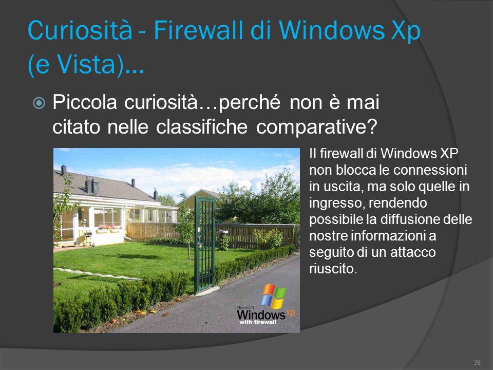 Curiosità - Firewall di Windows Xp (e Vista)…  Piccola curiosità…perché non è mai citato nelle classifiche comparative? 39 Il firewall di Windows XP