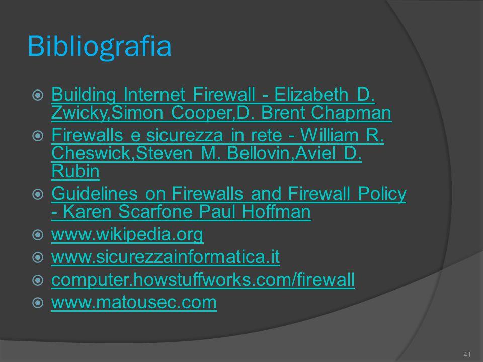 Bibliografia  Building Internet Firewall - Elizabeth D. Zwicky,Simon Cooper,D. Brent Chapman Building Internet Firewall - Elizabeth D. Zwicky,Simon C