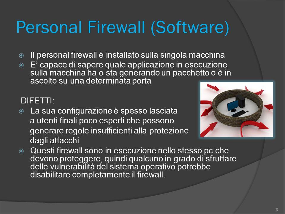 Personal Firewall (Software)  Il personal firewall è installato sulla singola macchina  E' capace di sapere quale applicazione in esecuzione sulla m