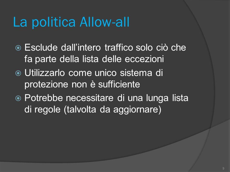 La politica Allow-all  Esclude dall'intero traffico solo ciò che fa parte della lista delle eccezioni  Utilizzarlo come unico sistema di protezione non è sufficiente  Potrebbe necessitare di una lunga lista di regole (talvolta da aggiornare) 9