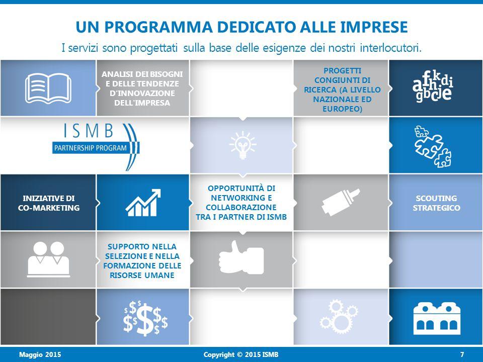 Maggio 2015 8 Copyright © 2015 ISMB VISION «Noi crediamo nella creatività delle persone e ci impegniamo per creare un ambiente dinamico in cui i ricercatori sono focalizzati sull'innovazione di processo e di sistema, da realizzare in stretta collaborazione con le imprese e le istituzioni, con l'obiettivo di generare benefici concreti per la società».