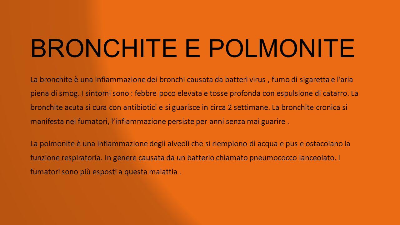 BRONCHITE E POLMONITE La bronchite è una infiammazione dei bronchi causata da batteri virus, fumo di sigaretta e l'aria piena di smog. I sintomi sono