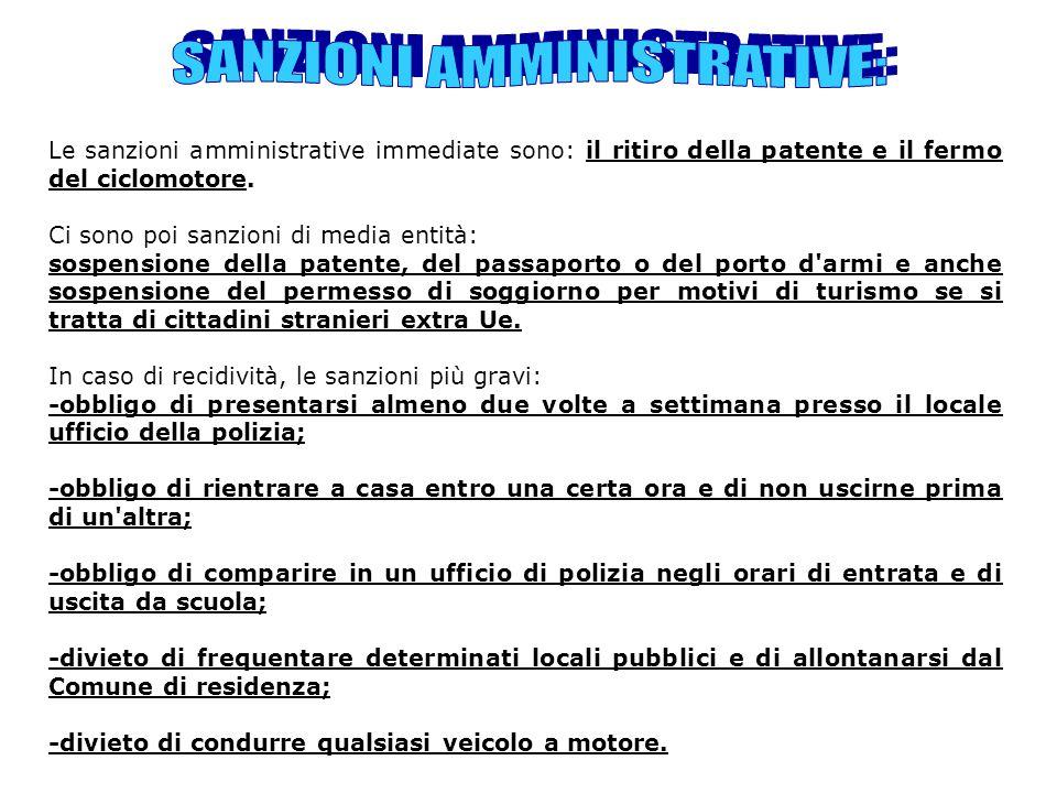Le sanzioni amministrative immediate sono: il ritiro della patente e il fermo del ciclomotore. Ci sono poi sanzioni di media entità: sospensione della