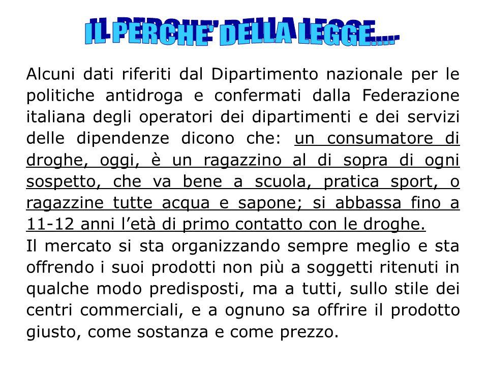 Alcuni dati riferiti dal Dipartimento nazionale per le politiche antidroga e confermati dalla Federazione italiana degli operatori dei dipartimenti e