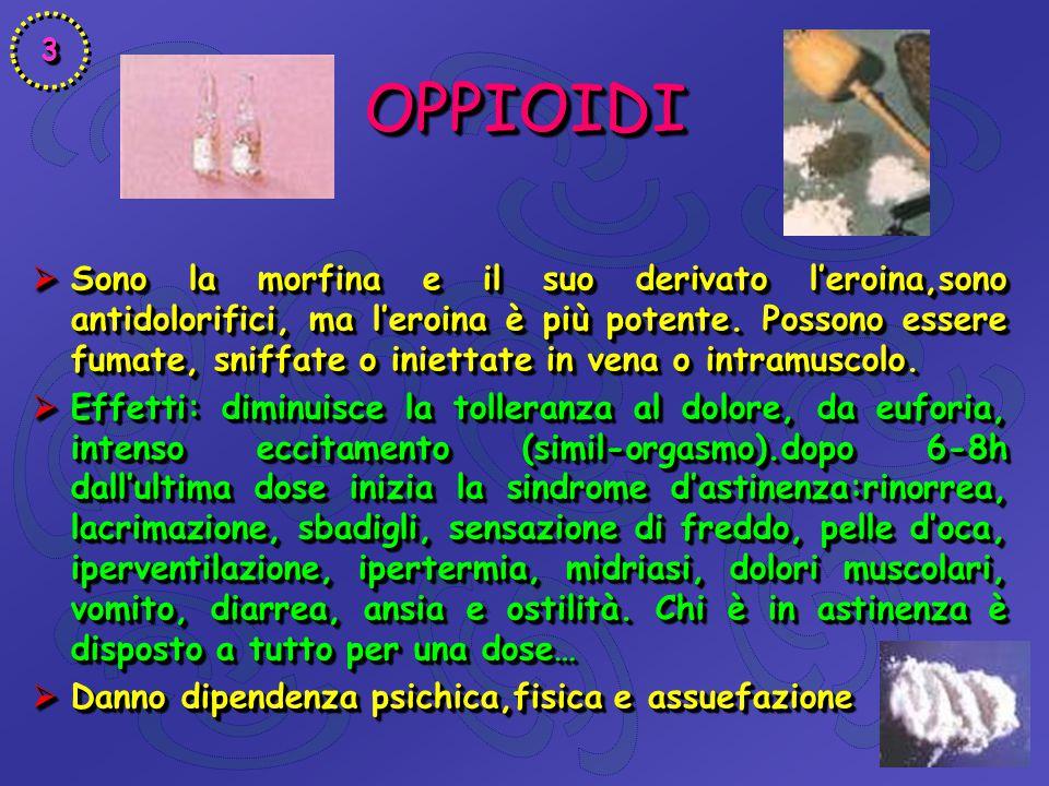 OPPIOIDIOPPIOIDI  Sono la morfina e il suo derivato l'eroina,sono antidolorifici, ma l'eroina è più potente. Possono essere fumate, sniffate o iniett