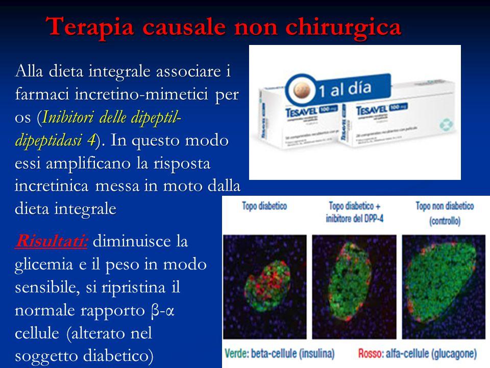Terapia causale non chirurgica Alla dieta integrale associare i farmaci incretino-mimetici per os (Inibitori delle dipeptil- dipeptidasi 4). In questo