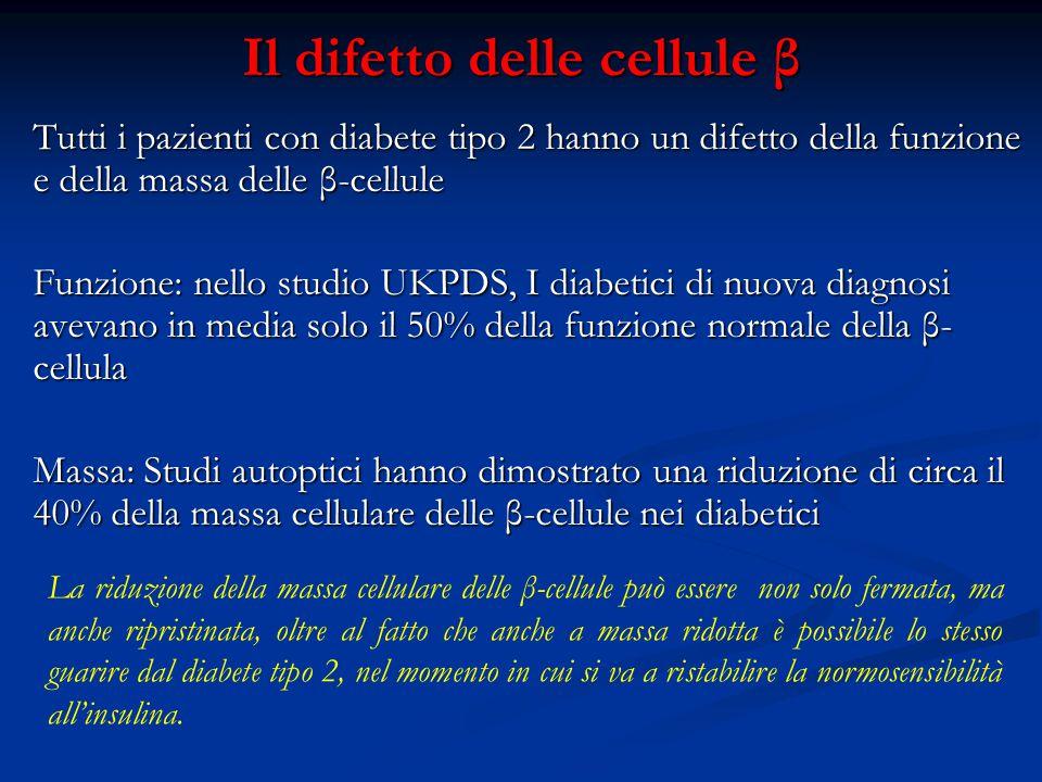 Il difetto delle cellule β Tutti i pazienti con diabete tipo 2 hanno un difetto della funzione e della massa delle β-cellule Funzione: nello studio UK