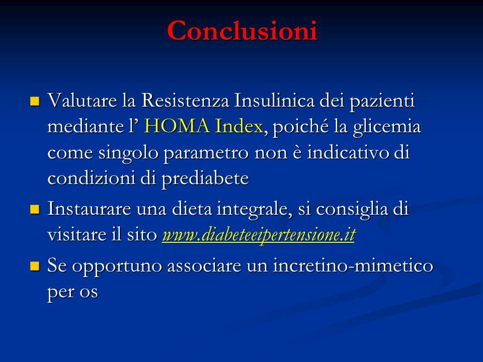 Conclusioni Valutare la Resistenza Insulinica dei pazienti mediante l' HOMA Index, poiché la glicemia come singolo parametro non è indicativo di condi