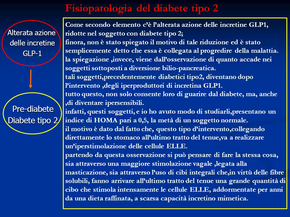 Fisiopatologia del diabete tipo 2 Alterata azione delle incretine GLP-1 Pre-diabete Diabete tipo 2 Come secondo elemento c'è l'alterata azione delle i