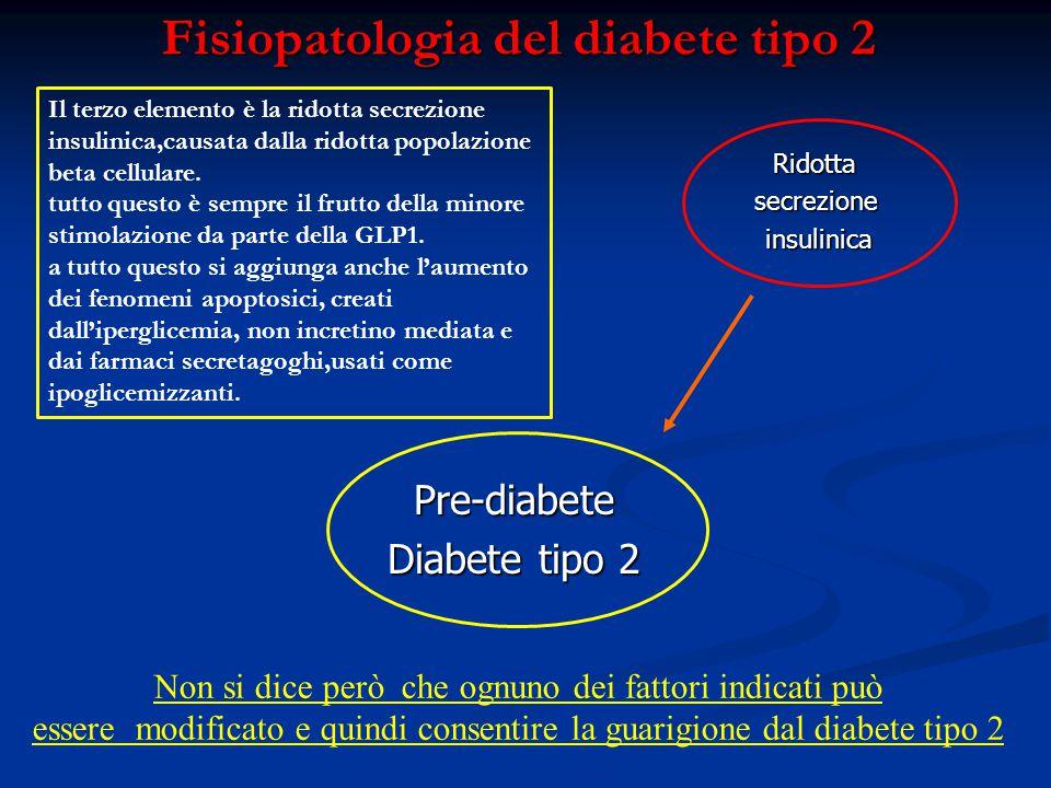 Fisiopatologia del diabete tipo 2 Ridottasecrezioneinsulinica Pre-diabete Diabete tipo 2 Non si dice però che ognuno dei fattori indicati può essere m