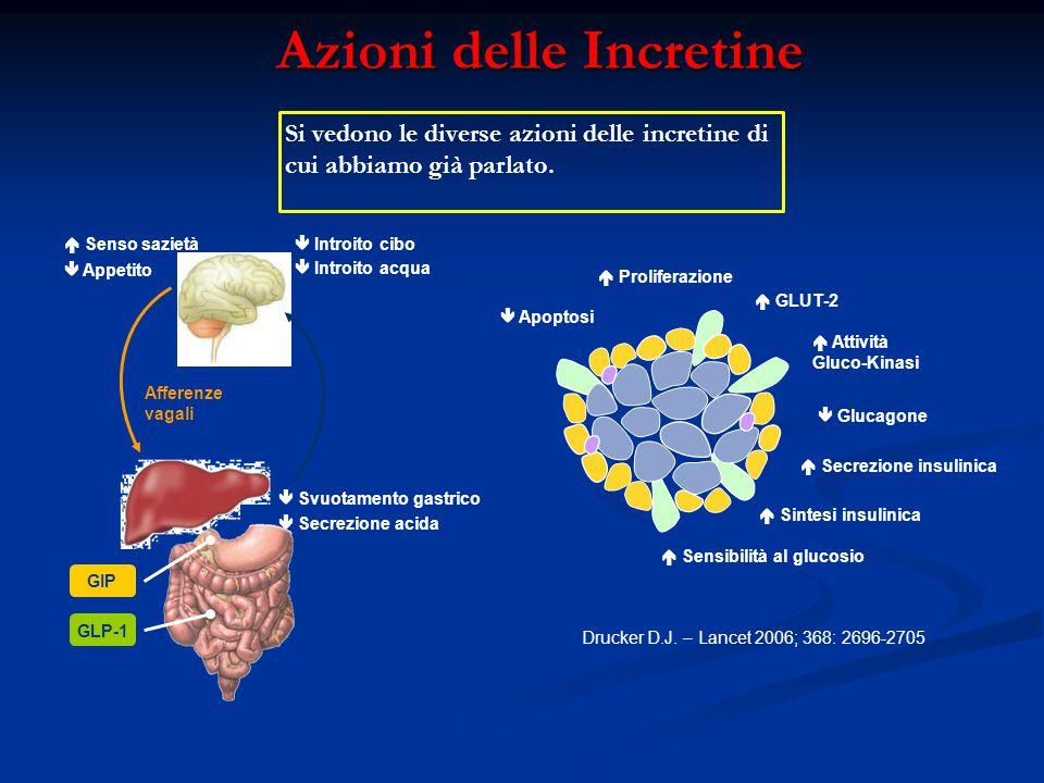 Azioni delle Incretine GIP GLP-1  Svuotamento gastrico  Secrezione acida  Appetito  Senso sazietà  Introito acqua  Introito cibo Afferenze vagal