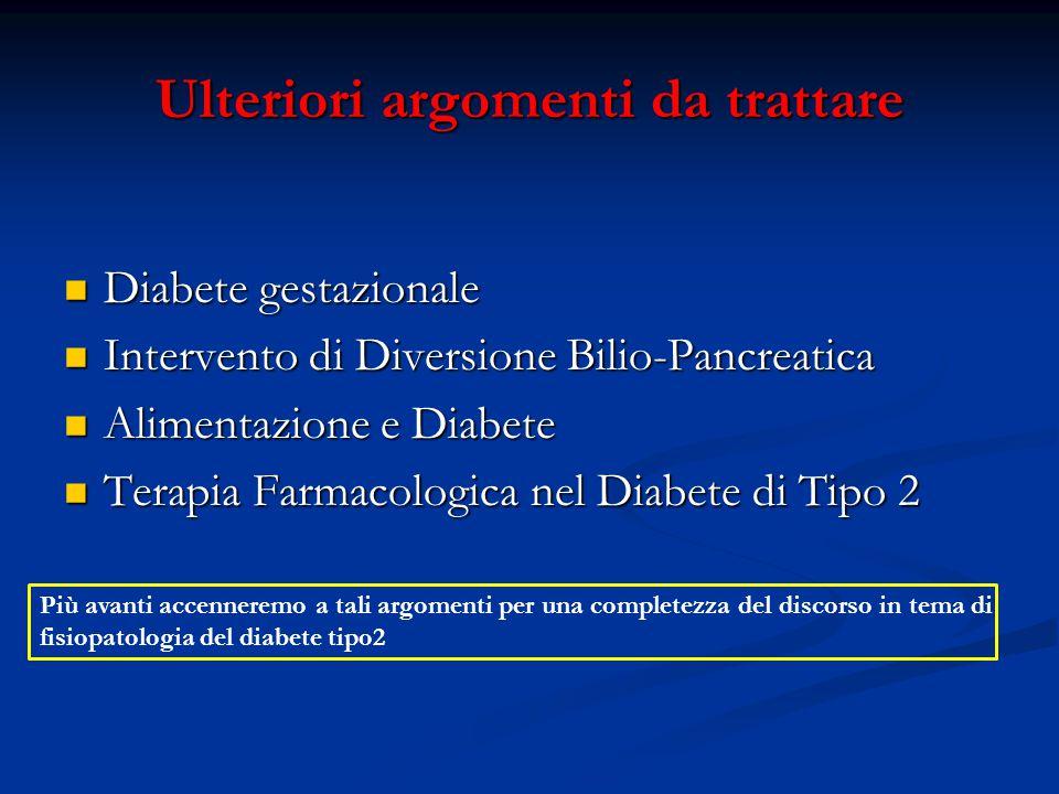 Ulteriori argomenti da trattare Diabete gestazionale Diabete gestazionale Intervento di Diversione Bilio-Pancreatica Intervento di Diversione Bilio-Pa