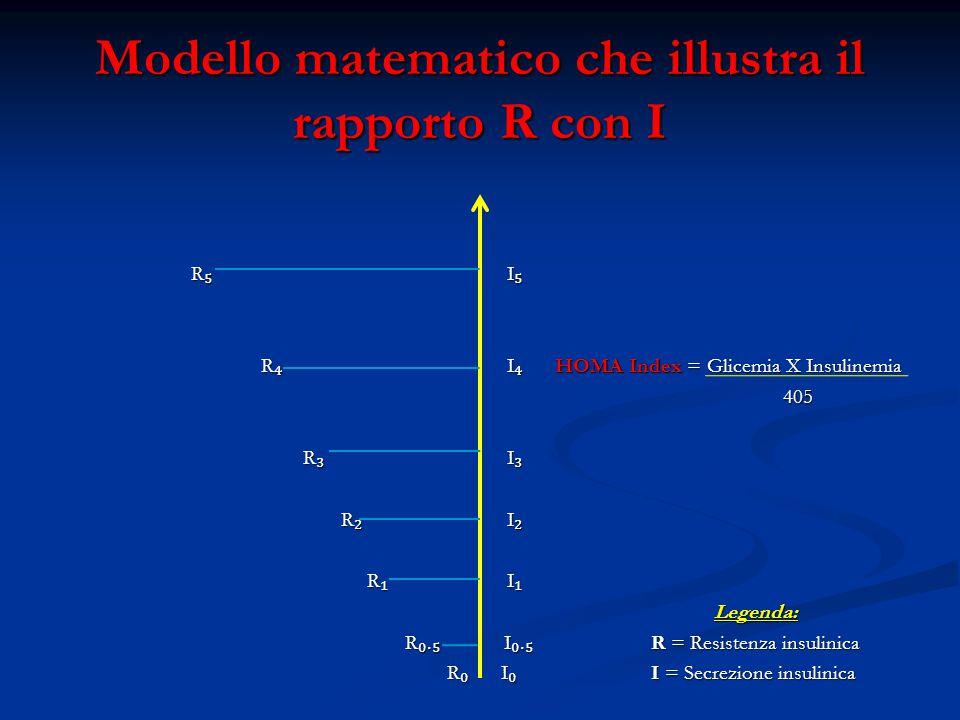Modello matematico che illustra il rapporto R con I R ₅ I ₅ R ₅ I ₅ R ₄ I ₄ HOMA Index = Glicemia X Insulinemia R ₄ I ₄ HOMA Index = Glicemia X Insuli